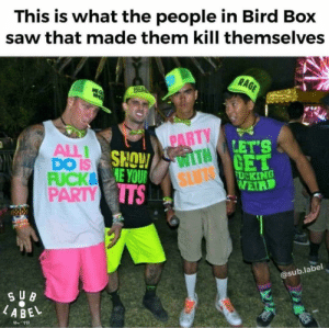 Facts, Party, and Saw: This is what the people in Bird Box  saw that made them kill themselves  PARTY  ALL  DO IS  FUCK8  LET'S  TH  SLU  E YOU  PARTY S  UCKING  VEIR  @sub.label  ABEL Facts.