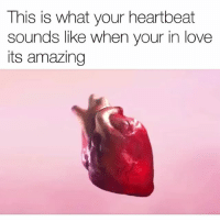 Funny, Love, and Amazing: This is what your heartbeat  sounds like when your in love  its amazing Holy sh*t 💀🙏 Via Tw-Souljasamo