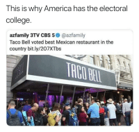 College: This is why America has the electoral  college  azfamily 3TV CBS 5@azfamily  Taco Bell voted best Mexican restaurant in the  country bit.ly/207XTbs