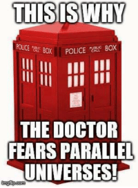 Parallels Universe: THIS IS WHY  CE Box POLICE BOX  THE DOCTOR  FEARS PARALLEL  UNIVERSES!  inngif com