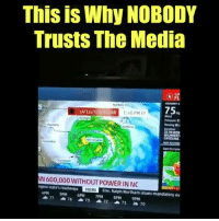Wait for it ...: This is Why NOBODY  Trusts The Media  FL  Narfel  75  SATELLITE &RADAR  140 PME  Wind  Pressure 9  Hoving W  35 M  CAROLUNA  Chartette  attera  Coluntia  Rain to Co  Chartesion  N 600,000 WITHOUT POWER IN NO  IRGINI  4PM SPM 6PM 7PM PM 9PM  ngest state's roadways  Gov. Ratph Northam issues mandatory ev Wait for it ...