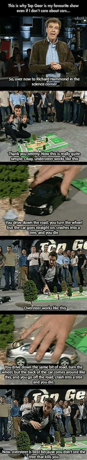 Cars, Richard Hammond, and Top Gear: This is why Top Gear is my favourite show  even if I don't care about cars...  ONE  So, over now to Richard Hammond in the  science corner  Thank youリeremy. Now this is really quite  simple Okay, understeerworks like this  You drive down the road,youturn the wheel  but thecargoes stalght on, crashes Intoa  tree, and youdie  Oversteerworks like this  You drive down the same bit of road,turn the  wheel but the back of the car comes around like  this and yougooff the road,crash Into a tree  and you die  Now.oversteer is best because.you don't see the  tree that kills yoU Understeer vs Oversteer
