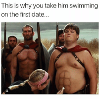 Fake, Memes, and Date: This is why you take him swimming  on the first date... Haters will say those packs are fake Follow my main page: @random_memes_appear