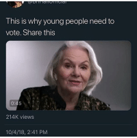 Ass, Bitch, and Old: This is why young people need to  vote. Share this  0:45  214K views  10/4/18, 2:41 PM I ain't gon lie to you Chief, these old heads got a point. We some bitch ass niggas @larnite