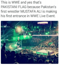 Ali, Memes, and Pakistan: This is WWE and yes that's  PAKISTANI FLAG because Pakistan's  first wrestler MUSTAFA ALI is making  his first entrance in WWE Live Event. Glad our government doesn't support him :)