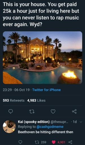 Beethoven > Mozart tbh: This is your house. You get paid  25k a hour just for living here but  you can never listen to rap music  ever again. Wyd?  23:29 06 Oct 19 Twitter for iPhone  593 Retweets  4,983 Likes  Kai (spooky edition) @thesupr... .1d  Replying to @cashgodmeme  Beethoven be hitting different then  L 259  4,901 Beethoven > Mozart tbh
