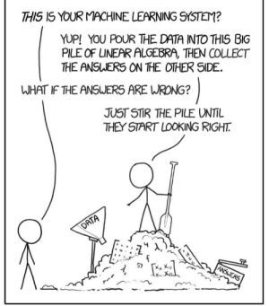 Just about right..!: THIS IS YOUR MACHINE LEARNING SYSTEM?  YUP! YOU POUR THE DATA INTO THIS BIG  PILE OF LINEAR ALGEBRA, THEN COLLECT  THE ANSWER5 ON THE OTHER SIDE.  WHAT IF THE ANSJERS ARE WRONG?  JUST STR 꺼E PILE UNTIL  THEY START LOOKING RIGHT Just about right..!