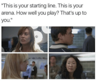 "Memes, 🤖, and How: This is your starting line. This is your  arena. How well you play? That's up to  you."" The beginning of it all. #GreysAnatomy https://t.co/U74Pig9icr"