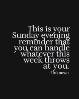 Memes, Tag Someone, and Sunday: This is your  Sunday evenin  reminder t  you. can nandle  whatever this  week throws  at you.  Unknown Yes, you can, and I will be right here cheering you on! Tag someone who needs to hear this. <3