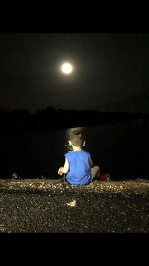 "Dad, Cancer, and Moon: This is Zachary. His father passed away of cancer a few months ago. Whenever he sees the moon he says ""Daddy's watching me."" He and his mother were walking at his father's favorite spot by the lake when he stopped to sit and talk with the moon; to have a one-on-one with Dad."