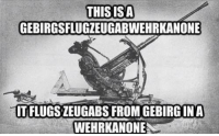 Even newer German meme: THIS ISA  GEBIRGSFLUGZEUGABWEHRKANONE  TFLUGSZEUGABSFROMGEBIRGINA  WEHRKANONE Even newer German meme