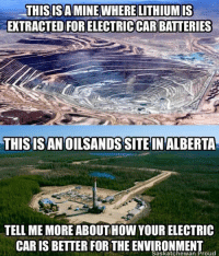 Bullshit Called Gloriously on a Lying Meme: THIS ISAMINEWHERELITHIUMIS  EXTRACTED FORELECTRICCARBATTERIES  THIS ISAN OILSANDSSITE IN ALBERTA  TELL ME MORE ABOUTHowYOUR ELECTRIC  CARIS BETTER FOR THE Saskatchewan Proud   Salar de Atacama Bullshit Called Gloriously on a Lying Meme