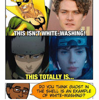 Anime, Friends, and Love: THIS ISN WHITE-WASHING!  DO You THINK GHOST IN  THE SHELL IS AN EXAMPLE  OF WHITE WASHING? [🚨 Podcast LINK in BIO!] @ghostintheshell has dropped with mixed reception, Super Friends. Some fans love it. Some hate it. Some say it's an accurate adaptation of the anime - others think the ScarJo plot twist was yet another example of white-washing in mainstream media. What do YOU guys think? See the meme for my opinion. 😅 -- We've got for reviews for PowerRangers, GhostintheShell, TheFlash Musical AND GetOut spoilers! Please leave an iTunes review to hear your words read aloud on the show each week!