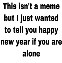 Being Alone, Meme, and New Year's: This isn't a meme  but I just wanted  to tell you happy  new year if you are  alone happy new year via /r/wholesomememes http://bit.ly/2BPKSy9