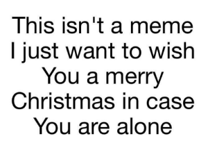 Being Alone, Christmas, and Dank: This isn't a meme  l just want to wish  You a merry  Christmas in case  You are alone Just checking in! by thatonegamer999 MORE MEMES