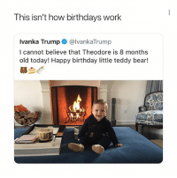 Oh she didn't,....: This isn't how birthdays work  Ivanka Trump@lvankaTrump  I cannot believe that Theodore is 8 months  old today! Happy birthday little teddy bear!  芻刍  INA Oh she didn't,....