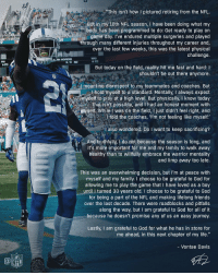 "Official statement from CB @vontaedavis. https://t.co/8WXszhnrUo: ""This isn't how I pictured retiring from the NFL  But in my 10th NFL season, I have been doing what my  body has been programmed to do: Get ready to play on  game day. I've endured multiple surgeries and played  through many different injuries throughout my career and  over the last few weeks, this was the latest physical  challenge  9  HORNS  WAS  PHI  PTS  But today on the field, reality hit me fast and hard: I  shouldn't be out there anymore.  meant no disrespect to my teammates and coaches. But  l hold myself to a standard. Mentally, I always expect  myself to play at a high level. But physically, I know today  that isn't possible, and I had an honest moment with  myself. While 1 was on the field, I just didn't feel right, and  l told the coaches, I'm not feeling like myself  l also wondered: Do I want to keep sacrificing?  And truthfully, I do not because the season is long, and  it's more important for me and my family to walk away  healthy than to willfully embrace the warrior mentality  and limp away too late.  This was an overwhelming decision, but I'm at peace with  myself and my family. I choose to be grateful to God for  allowing me to play the game that I have loved as a boy  until I turned 30 years old. I choose to be grateful to God  for being a part of the NFL and making lifelong friends  over the last decade. There were roadblocks and pitfalls  along the way, but I am grateful to God for all of it  because he doesn't promise any of us an easy journey.  Lastly, I am grateful to God for what he has in store for  me ahead, in this next chapter of my life.""  - Vontae Davis  NFL Official statement from CB @vontaedavis. https://t.co/8WXszhnrUo"