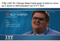 """Chicago, Chicago Bears, and Memes: THIS JUST IN: Chicago Bears trade away 6 picks to move  up 2 spots to draft propsect out of ITT Tech.  @NFL MEMES  BILLY GUMPERT  ITT TECHNICAL INSTITUTE  5' 9""""  320LBS.  40-YARD DASH: 17.31 SEC.  VERITCAL LEAP: 2 INCHES  ITT 😂😂😂"""