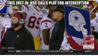 That's gotta be it...: THIS JUSTIN: USC CALLS PLAY FOR INTERCEPTION  Wisconsin 93  10  2nd 6:37 30  ONFL MEMES  2nd & Goal  BowLS JAN, 1 ET, ESPN2 and streaming live on WatchESPN and ESPN app That's gotta be it...