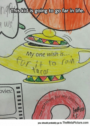Life, Tumblr, and Blog: This kid is going to go far in life.  My one wish is...  Ut to fai  ta co  Ovies:  0  you should probably go to TheMetaPicture.com srsfunny:Clever Child