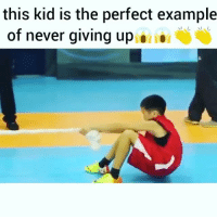 Pure determination 🔥🔥: this kid is the perfect example  of never giving up Pure determination 🔥🔥