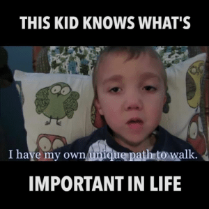 Life, Memes, and 🤖: THIS KID KNOWS WHAT'S  I haye my own unique path to walk.  IMPORTANT IN LIFE Sometimes the wisest words can come from the smallest people.