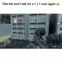 Friends, Memes, and 🤖: This kid won't ask for a 1 v 1 ever again  TARE  8 Bruhhh 😂😂😂 ✖️ Tag Friends ✖️ Follow (me) For More ✖️ Credit: 🤷🏽♂️