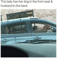 Funny, God, and Memes: This lady has her dog in the front seat8&  husband in the back @god has the best memes on the planet😭😭🙌🏻🙏🏻
