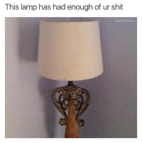 Funny, Tank, and Sinatra: This lamp has had enough of ur shit  Tank Sinatra WELL MAYBE YOU DON'T TURN ME ON EITHER