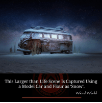 "Life, Memes, and Weird: This Larger than Life Scene Is Captured Using  a Model Car and Flour as ""Snow"".  Weird World Trip to my inner self. by Felix Hernandez Rodriguez"