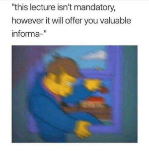 "Will, You, and This: ""this lecture isn't mandatory,  however it will offer you valuable  informa-"""