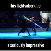 Dank, 🤖, and Tissot: This lightsaber duel  Vorgol  TISSOT  is seriously impressive This needs to become an actual sport! 🙌👏