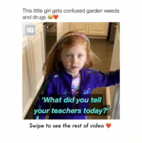 """Memes, 🤖, and Rest: This little girl gets confused garden weeds  and drugs u  What did you tell  your teachers today?""""  Swipe to see the rest of video She's so cute Tag your friends ________ Follow @Crelube for more videos Follow @Crelube 😍 Follow @Crelube ❤ Follow @Crelube 👌🏽 Follow @Crelube 🔥"""