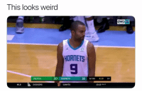 Basketball, Dodgers, and Mlb: This looks weird  OX  ox  HORNETS  CELTICS  20 HORNETS  18 1st Qtr 4:10 14  MLB  DODGERS  GIANTS  10:15 PM ET This'll take some time to get used to 😂 nbamemes nba tonyparker Via @world_wide_wob