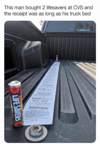 Dank, Receipt, and Cvs: This man bought 2 lifesavers at CVS and  the receipt was as long as his truck bed  5  40% off When will CVS stop this nonsense?