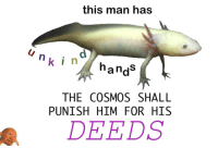 Cosmos, Him, and Man: this man has  nk i n  andS  THE COSMOS SHALL  PUNISH HIM FOR HIS  DEEDS