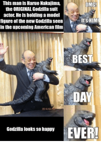 Godzilla, Omg, and American: This man is Haruo Nakajima,  the ORIGINAL Godzilla suit  actor. He is holding a model  figure of the new Godzilla seen  in the upcoming American film  OMG!  It'SHIM!  BEST  DAY  2014/03/30  Godzilla looks so happy Godzilla looks so happy