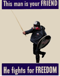 Apparently beating commies with a stick is a bad thing. strongholdhumor veterans veteranhumor: This man is your FRIEND  He fights for FREEDOM Apparently beating commies with a stick is a bad thing. strongholdhumor veterans veteranhumor