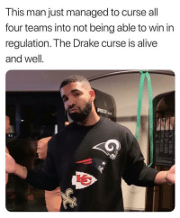 Alive, Drake, and Friends: This man just managed to curse all  four teams into not being able to win in  regulation. The Drake curse is alive  and well.  12 😂😂😂 it's going to be quite the superbowl ‼️ who we betting on rapsavages ⁉️ Follow @bars for more ➡️ DM 5 FRIENDS