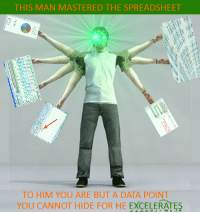 Data, Him, and Hide: THIS MAN MASTERED THE SPREADSHEET  TO HIM YOU ARE BUT A DATA POINT  YOU CANNOT HIDE FOR HE EXCELERATES