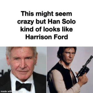 Wow that's crazy: This might seem  crazy but Han Solo  kind of looks like  Harrison Ford  made with mematic Wow that's crazy