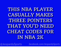 "Facebook, Nba, and Sports: THIS NBA PLAYER  CASUALLY MAKES  THREE POINTERS  THAT YOU'D NEED  CHEAT CODES FOR  IN NBA 2K  @JeopardySports facebook.com/JeopardySports ""Who is: Steph Curry?"" #JeopardySports #NBAFinals https://t.co/mFcMf8j5Ts"