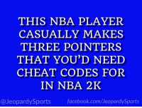 "Facebook, Nba, and Sports: THIS NBA PLAYER  CASUALLY MAKES  THREE POINTERS  THAT YOU'D NEED  CHEAT CODES FOR  IN NBA 2K  @JeopardySports facebook.com/JeopardySports ""Who is: Steph Curry?"" #JeopardySports #DubNation https://t.co/zR3uqcAG7E"