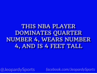 "Facebook, Jeopardy, and Nba: THIS NBA PLAYER  DOMINATES QUARTER  NUMBER 4, WEARS NUMBER  4, AND IS 4 FEET TALL  facebook.com/Ueopardy Sports  Jeopardy Sports ""Who is: Isaiah Thomas?"" #JeopardySports #NBAPlayoffs https://t.co/mxV3E9dsib"