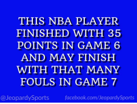 """Who is: Klay Thompson?"" #JeopardySports #DubNation https://t.co/bx25Er55Or: THIS NBA PLAYER  FINISHED WITH 35  POINTS IN GAME 6  AND MAY FINISH  WITH THAT MANY  FOULS IN GAME 7  @JeopardySports facebook.com/JeopardySports ""Who is: Klay Thompson?"" #JeopardySports #DubNation https://t.co/bx25Er55Or"
