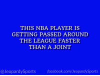 """""""Who is: Dwight Howard?"""" #JeopardySports #Wizards https://t.co/7NrfiaNfMY: THIS NBA PLAYER IS  GETTING PASSED AROUNI  THE LEAGUE FASTER  THAN A JOINT  @JeopardySports facebook.com/JeopardySports """"Who is: Dwight Howard?"""" #JeopardySports #Wizards https://t.co/7NrfiaNfMY"""