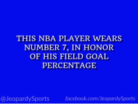 "Carmelo Anthony, Facebook, and Nba: THIS NBA PLAYER WEARS  NUMBER 7, IN HONOR  OF HIS FIELD GOAL  PERCENTAGE  @JeopardySports facebook.com/JeopardySports ""Who is: Carmelo Anthony?"" #JeopardySports #Rockets⁠ https://t.co/laSZq4i96I"