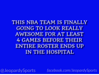 "Philadelphia 76ers, Facebook, and Nba: THIS NBA TEAM IS FINALLY  GOING TO LOOK REALLY  AWESOME FOR AT LEAST  4 GAMES BEFORE THEIR  ENTIRE ROSTER ENDS UP  IN THE HOSPITAL  @JeopardySports facebook.com/JeopardySports ""Who are: the Philadelphia 76ers?"" #JeopardySports #NBAFreeAgency https://t.co/5VdWjKgWnK"