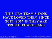 """Who are: the Golden State Warriors?"" #JeopardySports #DubNation https://t.co/3OWifH2WDs: THIS NBA TEAM'S FANS  HAVE LOVED THEM SINCE  2015, 2014 IF THEY ARIE  TRUE DIEHARD FANS  @JeopardySports facebook.com/JeopardySports ""Who are: the Golden State Warriors?"" #JeopardySports #DubNation https://t.co/3OWifH2WDs"