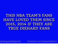 """Who are: the Golden State Warriors?"" #JeopardySports #NBAFinals https://t.co/uluH7nnnlf: THIS NBA TEAM'S FANS  HAVE LOVED THEM SINCE  2015, 2014 IF THEY ARIE  TRUE DIEHARD FANS  @JeopardySports facebook.com/JeopardySports ""Who are: the Golden State Warriors?"" #JeopardySports #NBAFinals https://t.co/uluH7nnnlf"